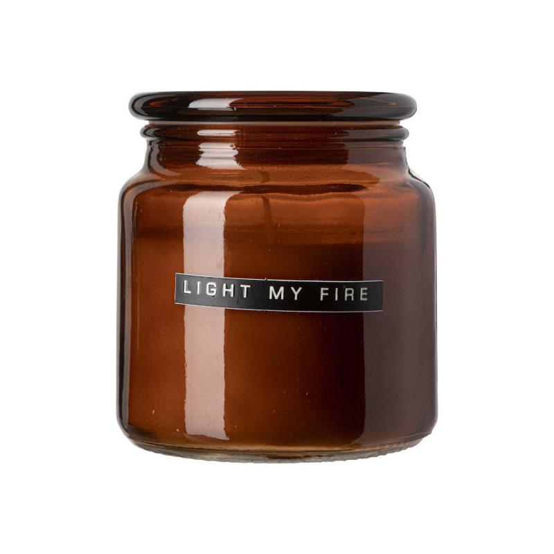 Wellmark Geurkaars Large - 'Light my fire' (bruin glas)