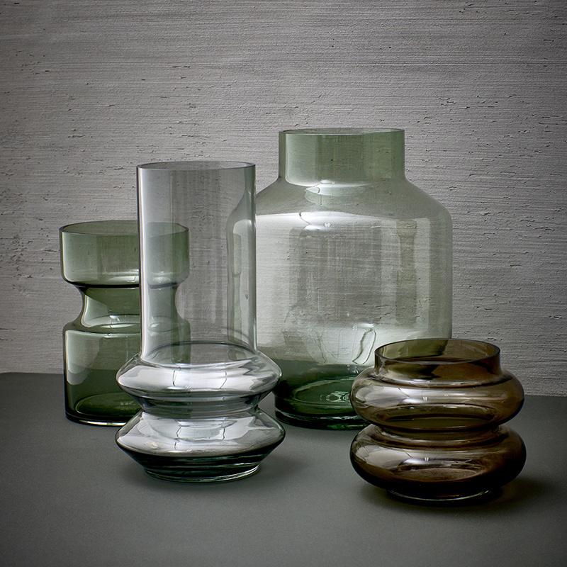 HKliving Glazen vaas - smoked - Medium