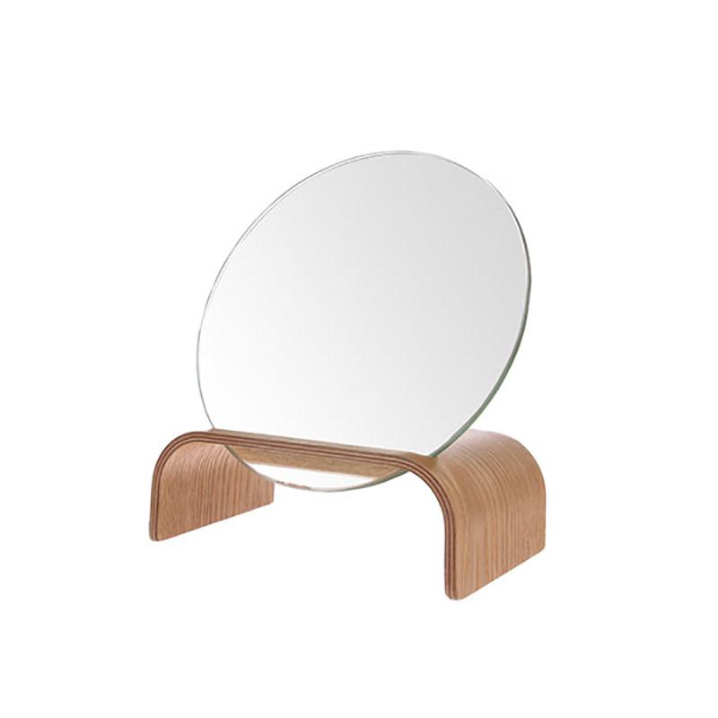 HKliving Ronde spiegel op houten voet
