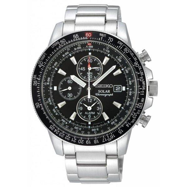 Seiko Seiko Heren Solar Chronograaf Pilot Watch Staal Bracelet SSC009P1