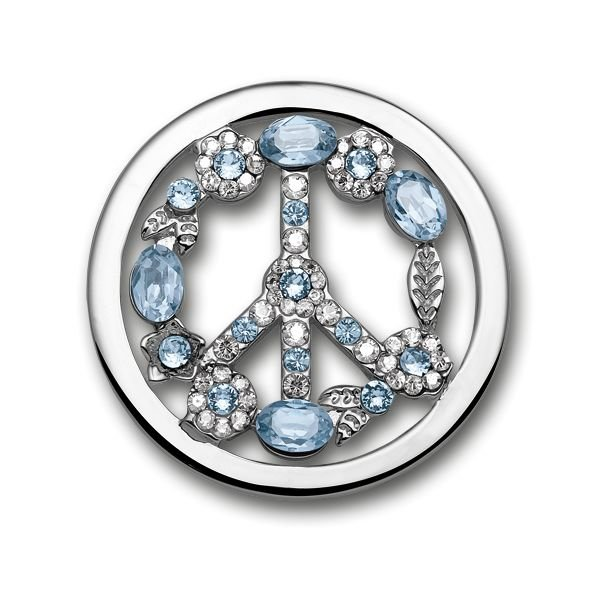 Mi Moneda Mi-Moneda coin Swarovski Peace Ice-Blue large