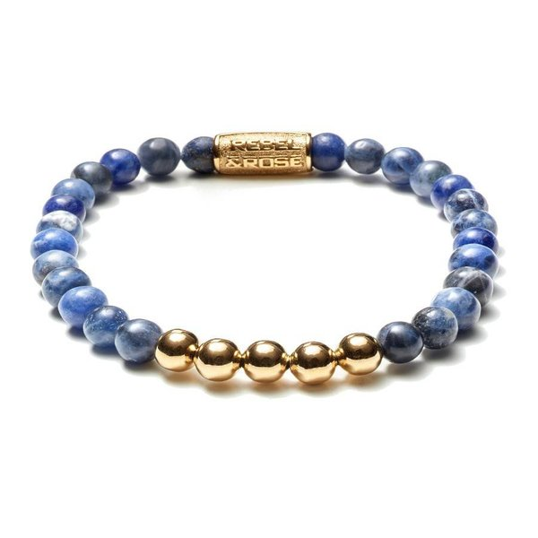 Rebel and Rose Rebel & Rose Midnight  Blue Gold  color herenarmband  RR-60004-G