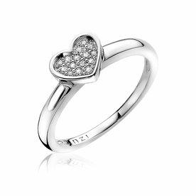 Zinzi Zinzi zilveren ring hart wit ZIR1390-56