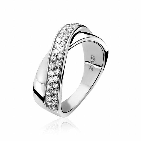 Zinzi ZINZI ring of silver with white zirconias crosswise set