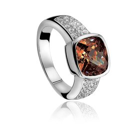 Zinzi Zinzi silver ring brown ZIR375 size 52