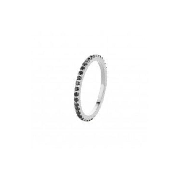 Melano Sade Kristall Ring schwarz FR17SSBL