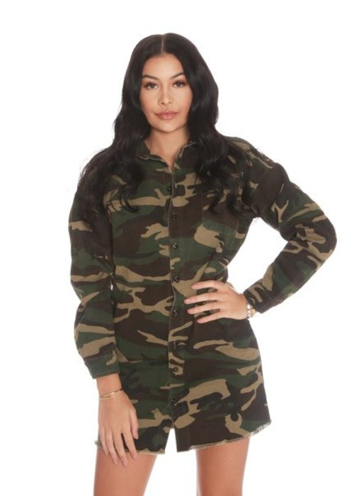 LA SISTERS LA SISTERS camouflage shirt dress army
