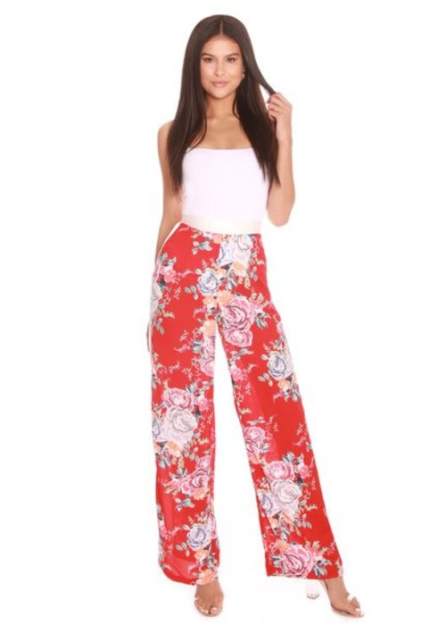 LA SISTERS LA SISTERS Flower Wide Leg Pants Red