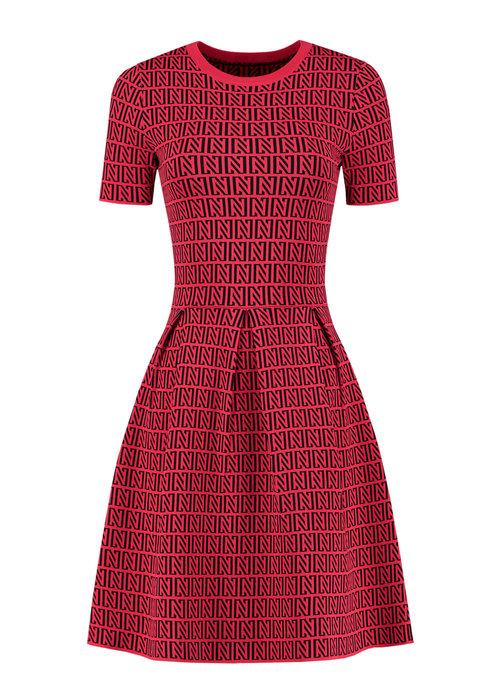 NIKKIE NIKKIE PERFECT LOGO DRESS BLACK-RACING RED