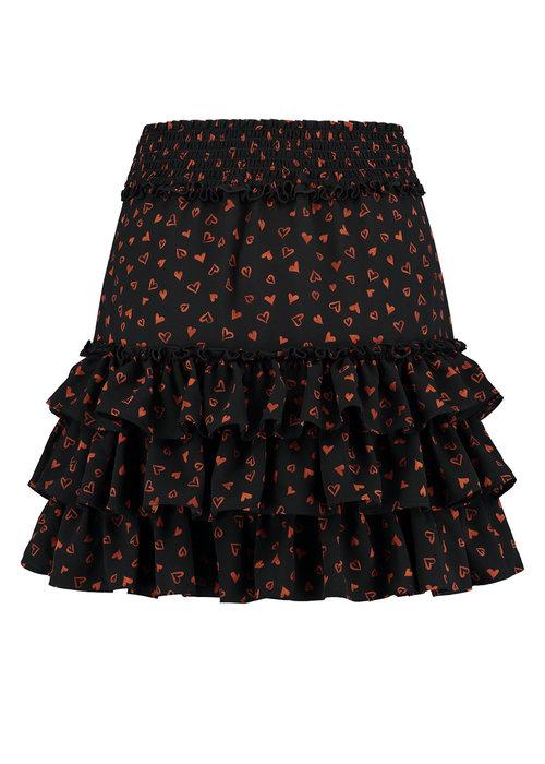 NIKKIE NIKKIE SIENA RUFFLE SKIRT Black skirt with all-over print