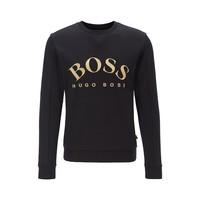 HUGO BOSS Slim-fit sweater van gemengde materialen met gebogen logo