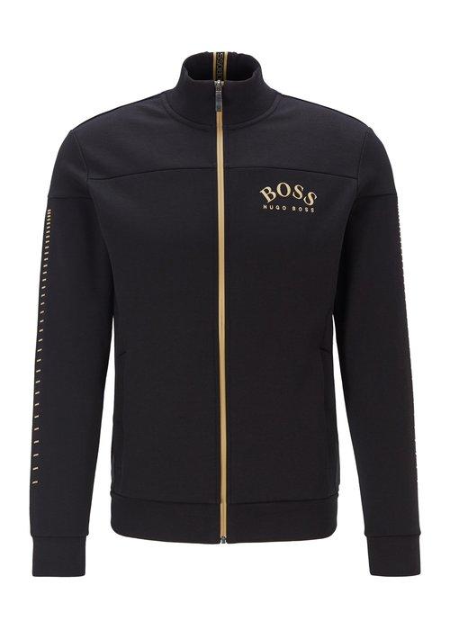 HUGO BOSS HUGO BOSS Sweatshirt met doorlopende ritssluiting, gebogen logo en metallic accenten