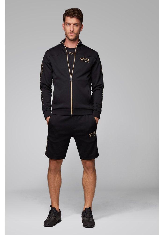 HUGO BOSS Sweatshirt met doorlopende ritssluiting, gebogen logo en metallic accenten
