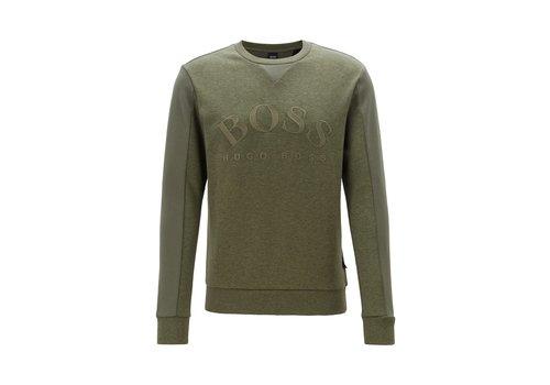 HUGO BOSS HUGO BOSS Slim-fit sweater van gemengde materialen met gebogen logo