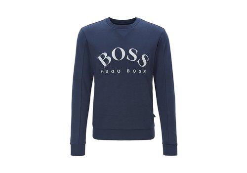 HUGO BOSS HUGU BOSS Slim-fit sweater van gemengde materialen met gebogen logo