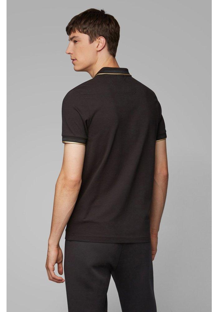 HUGO BOSS Slim-fit polo van stretchpiqué met gebogen logo