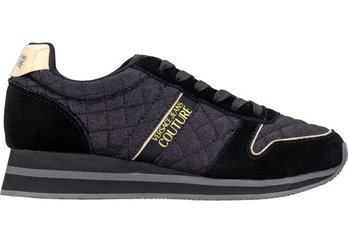 versace jeans glitter quilted suede mirror sneaker