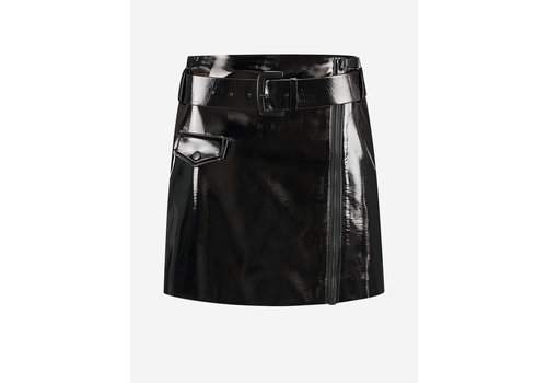 NIKKIE NIKKIE LACQUERED SKIRT WITH BELT