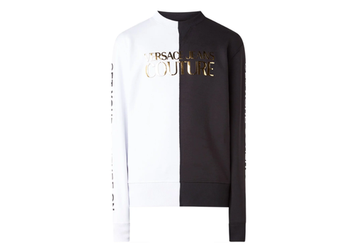 VERSACE JEANS COUTURE VERSACE COUTURE CONTRAST EN METALLIC LOGOPRINT SWEATER
