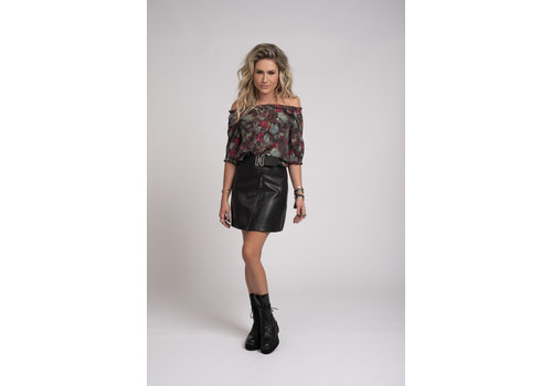 NIKKIE NIKKIE Vegan leather skirt with N logo belt MALI SKIRT