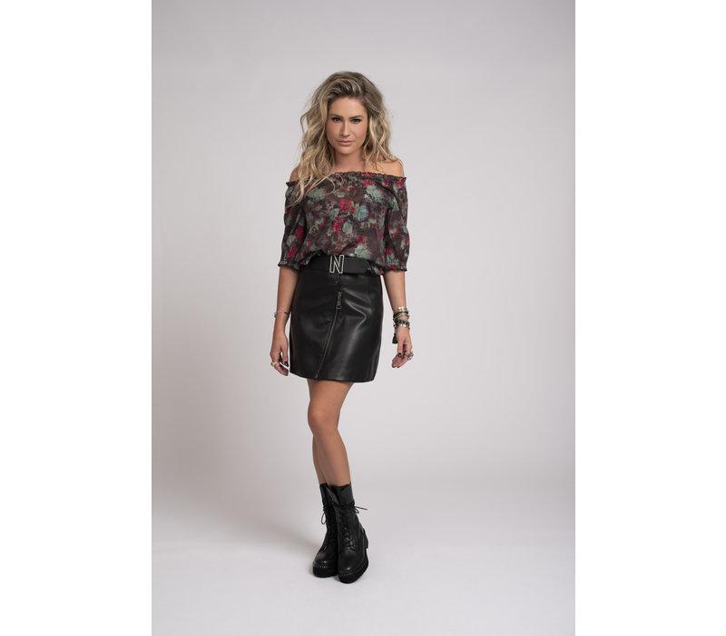 NIKKIE Vegan leather skirt with N logo belt MALI SKIRT