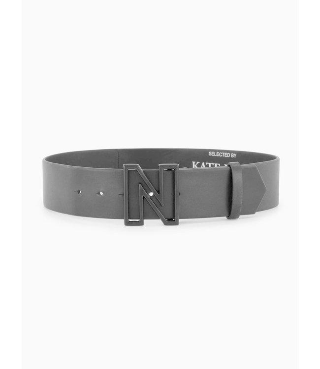 NIKKIE Black leather belt with open N logo