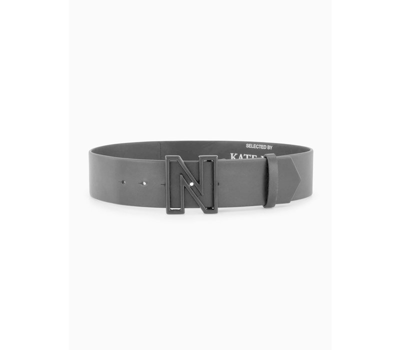 NIKKIE Black leather belt with open N logo