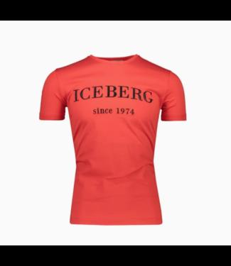 ICEBERG CHEST LOGO 1974 T-SHIRT RED
