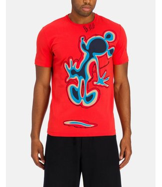 ICEBERG Fiery red Iceberg T-shirt with blue Mickey Mouse graphic