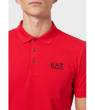 EA7 ARMANI JERSEY POLO T-SHIRT RED SS21