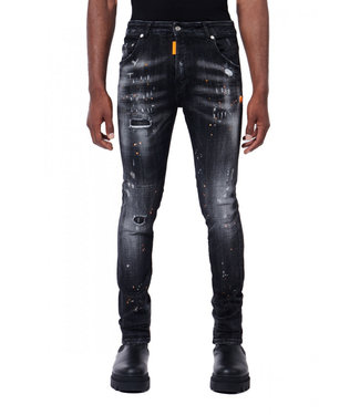 MY BRAND Zwarte jeans neon oranje spots