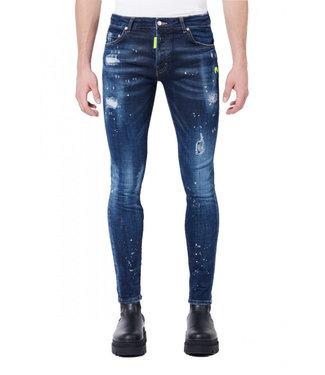 MY BRAND Donkerblauwe jeans neon gele spots