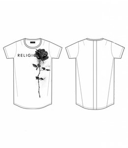 RELIGION ROSE CURVE HEM T-SHIRT