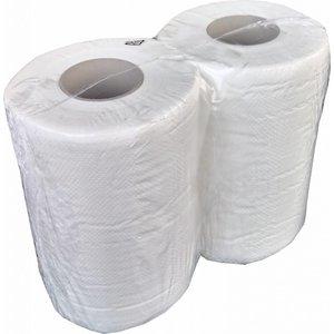 Papierrolle in reiner Zellulose; 2 Lagen; 22+22 gr/m2; Packung bestehend aus 2 Rollen