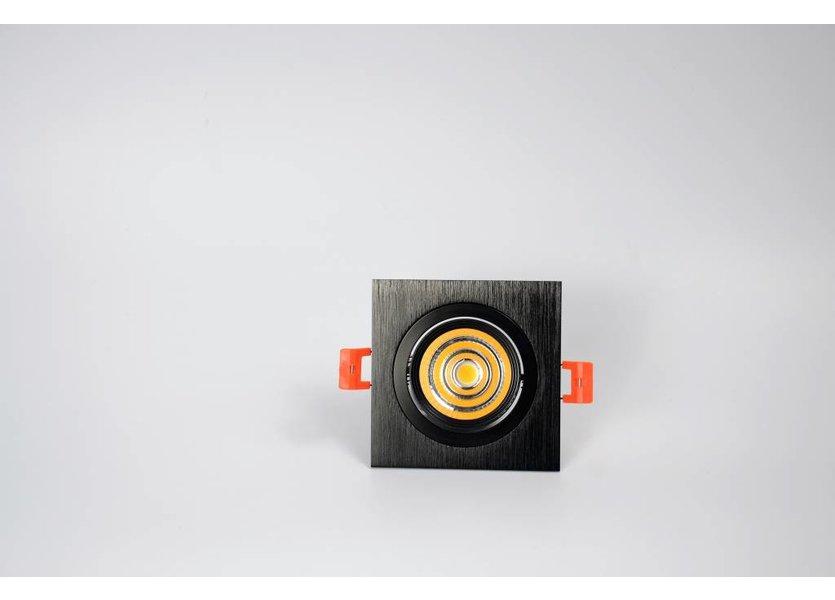 Verstelbare vierkante zwarte downlight - Crius