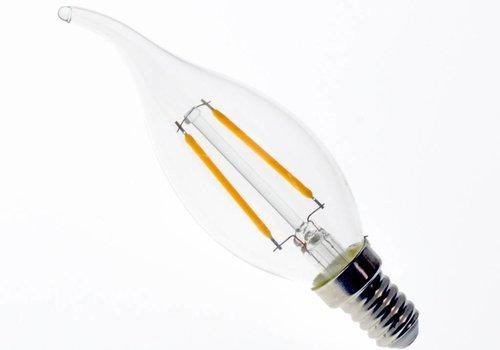 LED filament kaarslamp met tip E14 2W 2700K