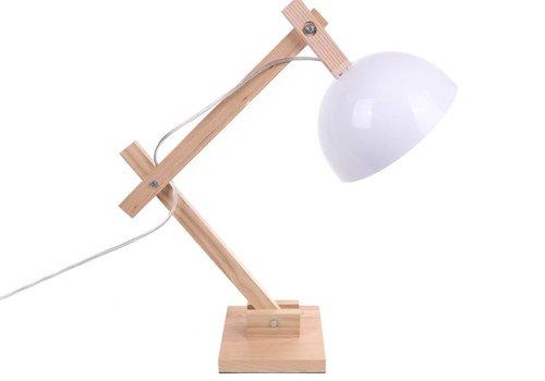 Witte houten tafellamp