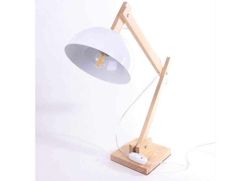 Witte Houten Tafellamp - Valott Palm