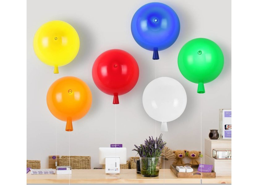 Wandlamp Ballon Rood Middelgroot inclusief 4W LED lamp - Funnylights