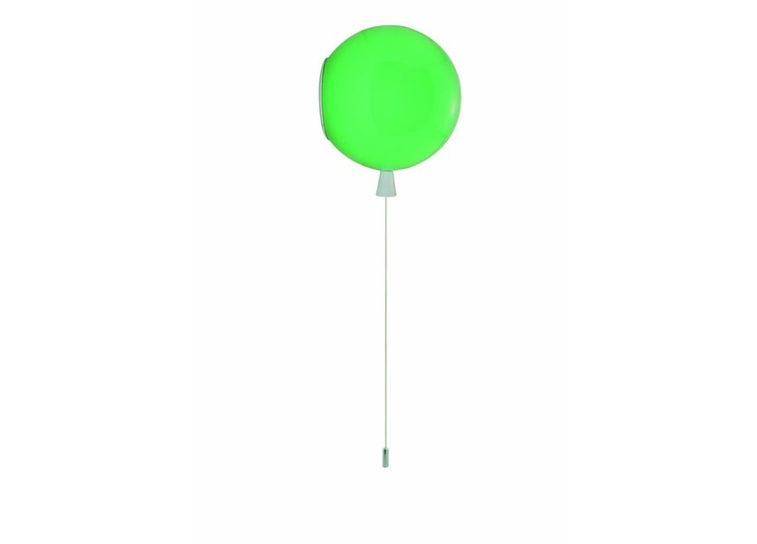 Wandlamp Ballon Groen Middelgroot inclusief 4W LED lamp - Funnylights