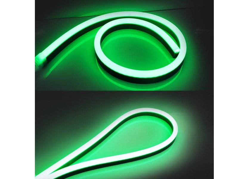 LED Neon Flex Micro Groen 1 meter 8mm x 16mm inclusief 12V lichtnetadapter - Funnylights