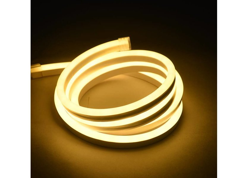 LED Neon Flex Micro Warm Wit 5 meter 8mm x 16mm inclusief 12V lichtnetadapter - Funnylights