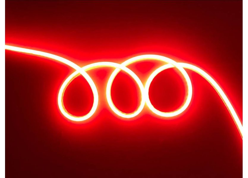 LED Neon Flex Micro Rood 1 meter 8mm x 16mm inclusief 12V lichtnetadapter - Funnylights