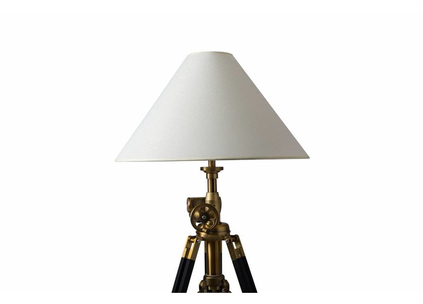 Tafellamp Brons met Zwart en Witte Kap - Scaldare Falzes