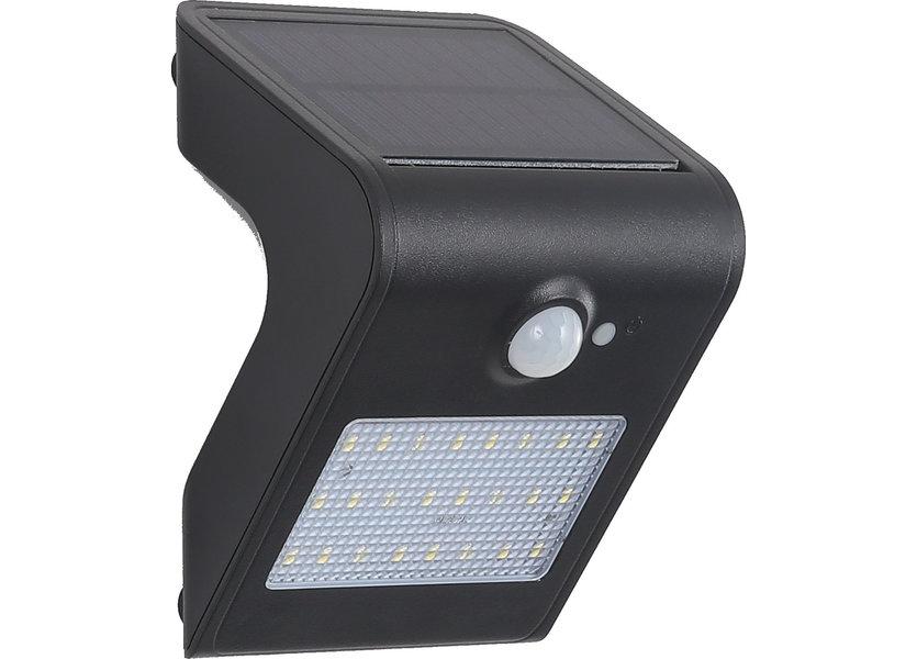 Wandlamp Solar LED Zwart + Bewegingssensor - Solar-Lights Nickel