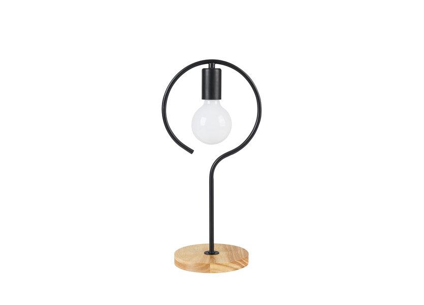 Tafellamp Modern Zwart Met Houten Voet - Scaldare Agordo