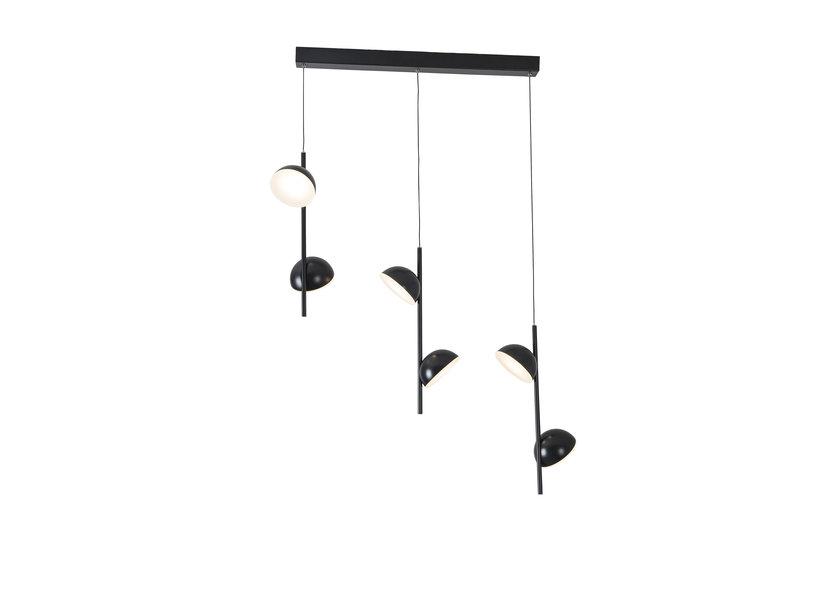 Hanglamp LED Modern Zwart Rond 6 Lichtpunt - Scaldare Galbiate