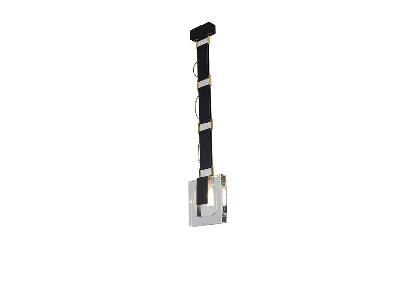 Hanglamp Modern Zwart Met Kristal en Leer - Scaldare Isola