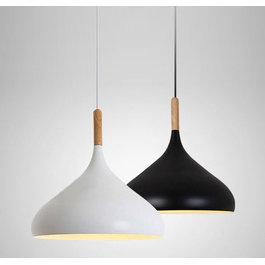 Valott Hanglamp Modern Zwart Rond Aluminium en Hout - Valott Riikka