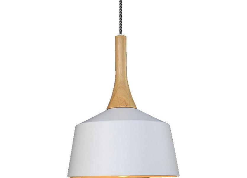 Hanglamp Modern Wit Rond Aluminium en Hout - Valott Sirkka